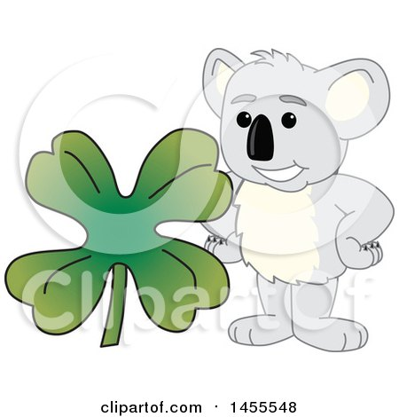 Clipart of a Koala Bear School Mascot Character with a St Patricks Day Four Leaf Clover - Royalty Free Vector Illustration by Toons4Biz