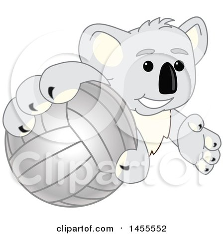 Clipart of a Koala Bear School Mascot Character Grabbing a Volleyball - Royalty Free Vector Illustration by Toons4Biz