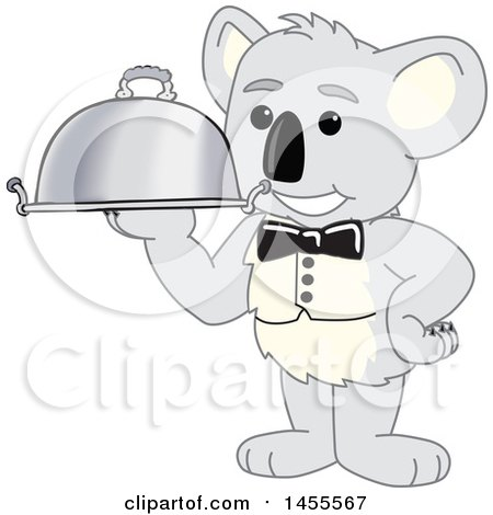 Clipart of a Koala Bear School Mascot Character Waiter Holding a Cloche Platter - Royalty Free Vector Illustration by Toons4Biz
