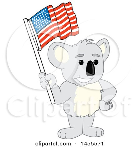 Clipart of a Koala Bear School Mascot Character Holding an American Flag - Royalty Free Vector Illustration by Toons4Biz