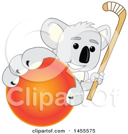 Clipart of a Koala Bear School Mascot Character Holding a Hockey Stick and Grabbing a Field Ball - Royalty Free Vector Illustration by Toons4Biz