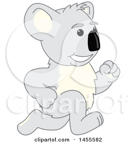Clipart of a Koala Bear School Mascot Character Running - Royalty Free Vector Illustration by Toons4Biz
