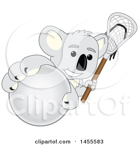Clipart of a Koala Bear School Mascot Character Holding a Lacrosse Stick and Grabbing a Ball - Royalty Free Vector Illustration by Toons4Biz