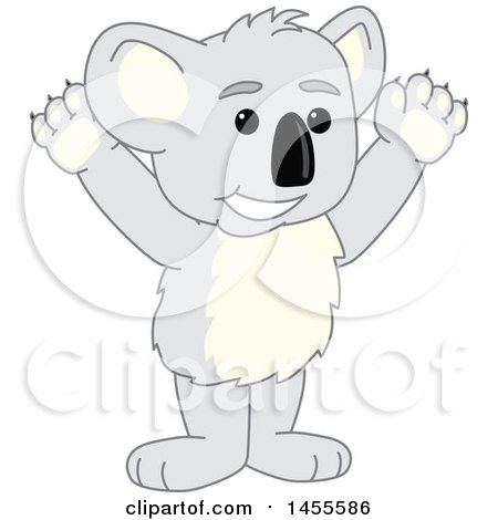 Clipart of a Koala Bear School Mascot Character Cheering - Royalty Free Vector Illustration by Toons4Biz