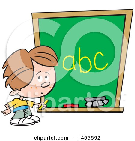 Clipart of a Cartoon Caucasian School Boy Writing the Alphabet on a Chalkboard - Royalty Free Vector Illustration by Johnny Sajem