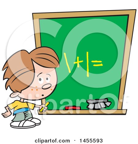 Clipart of a Cartoon Caucasian School Boy Solving a Math Problem on a Chalkboard - Royalty Free Vector Illustration by Johnny Sajem