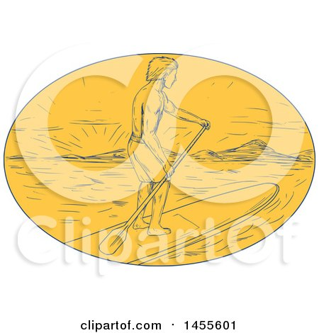 Clipart of a Drawing Sketched Styled Man Paddle Boarding at Sunset in a Yellow Oval - Royalty Free Vector Illustration by patrimonio