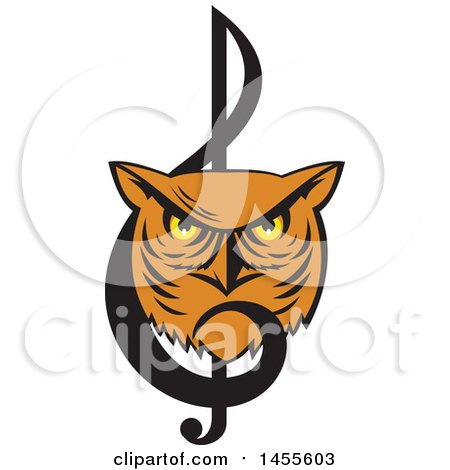 Clipart of a Retro Great Horned Owl Face in a Music Clef Note - Royalty Free Vector Illustration by patrimonio