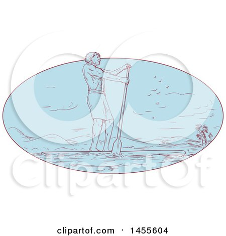 Clipart of a Drawing Sketched Styled Man Paddle Boarding in a Blue Oval - Royalty Free Vector Illustration by patrimonio