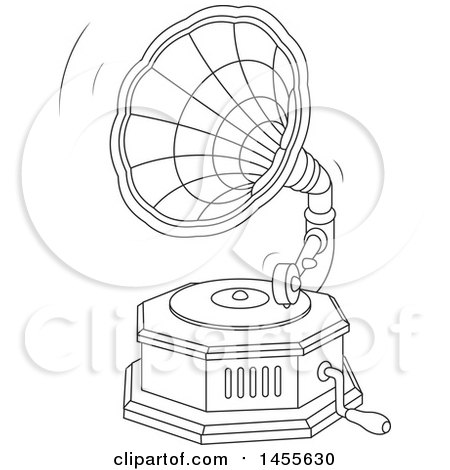 Clipart of a Black and White Phonograph Gramophone Playing a Vinyl Record - Royalty Free Vector Illustration by Alex Bannykh