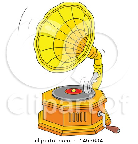 Clipart of a Cartoon Phonograph Gramophone Playing a Vinyl Record - Royalty Free Vector Illustration by Alex Bannykh