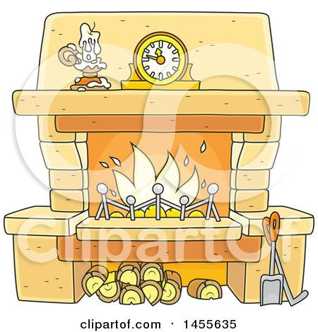 Clipart of a Cartoon Candle and Mantle Clock over a Fireplace - Royalty Free Vector Illustration by Alex Bannykh