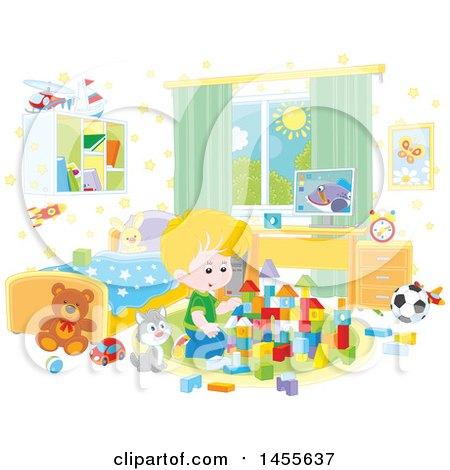 Clipart of a Cat Sitting Next to a Caucasian Boy Playing with Blocks - Royalty Free Vector Illustration by Alex Bannykh