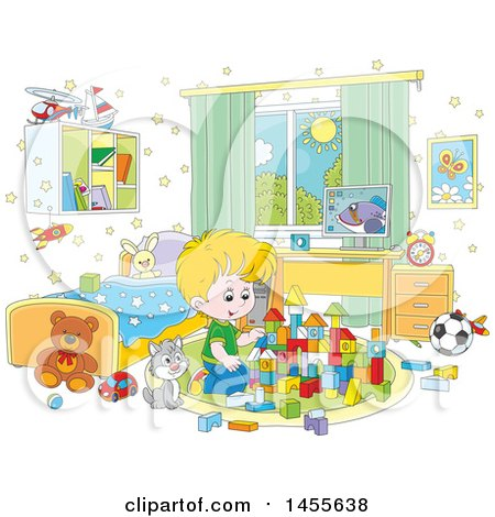 Clipart of a Cartoon Cat Sitting Next to a Blond White Boy Playing with Blocks - Royalty Free Vector Illustration by Alex Bannykh