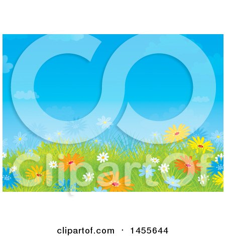 Clipart of a Blue Sky and Colorful Daisy Flower Backdrop - Royalty Free Illustration by Alex Bannykh