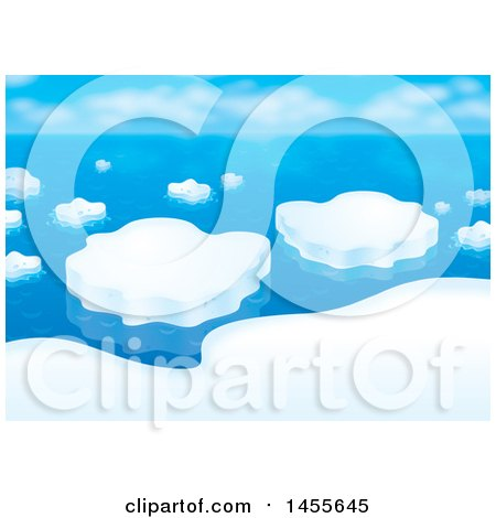 Clipart of a Still Ocean and Arctic Ice Floe Backdrop - Royalty Free Illustration by Alex Bannykh