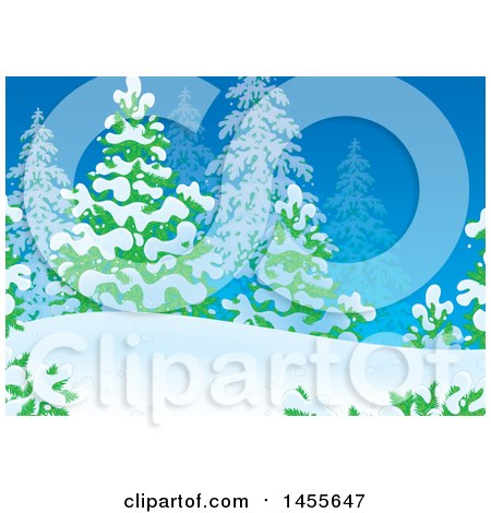Clipart of a Winter Evergreen and Snow Backdrop - Royalty Free Illustration by Alex Bannykh
