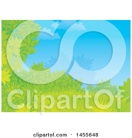 Clipart of a Grassy Hill, Tree and Shrub Against Blue Sky Backdrop - Royalty Free Illustration by Alex Bannykh
