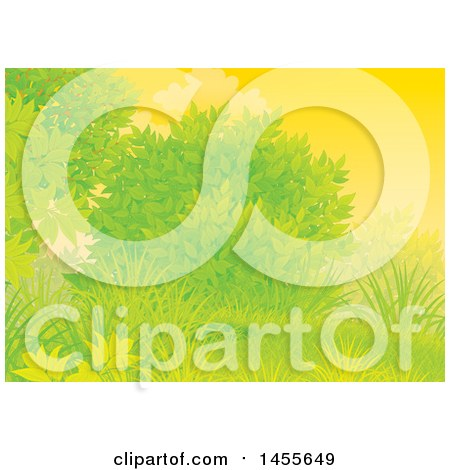 Clipart of a Grassy Hill, Tree and Shrub Against a Sunset Sky Backdrop - Royalty Free Illustration by Alex Bannykh