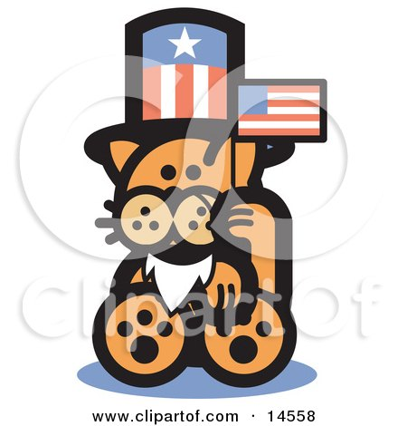 Orange Cat Wearing A Fake White Beard And An American Hat And Waving A Flag On Independence Day Clipart Illustration by Andy Nortnik