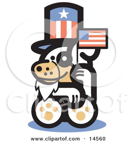 Cute Dog Disguised As Uncle Sam, Waving A Flag On Independence Day Clipart Illustration by Andy Nortnik