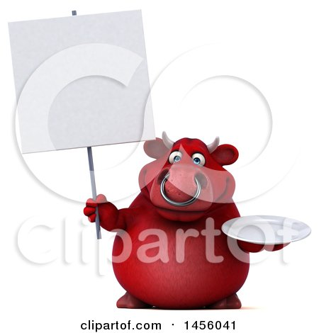 Clipart Graphic of a 3d Red Bull Character Holding a Plate, on a White Background - Royalty Free Illustration by Julos