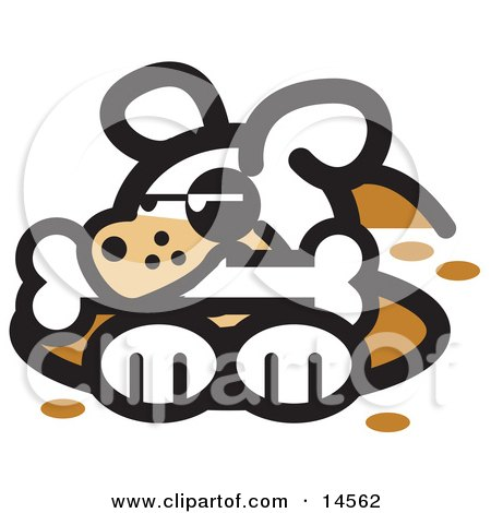 Dog in a Deep Hole, Holding a Bone in His Mouth Clipart Illustration by Andy Nortnik