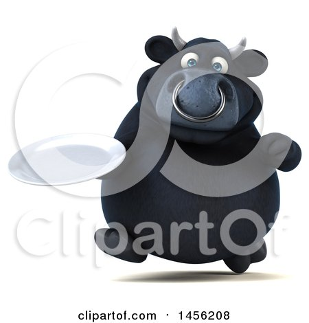 Clipart Graphic of a 3d Black Bull Character Holding a Plate, on a White Background - Royalty Free Illustration by Julos
