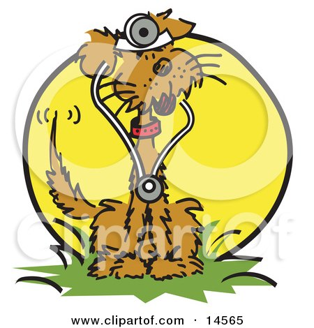 Brown Dog Sitting in Grass and Wearing a Stethoscope Clipart Illustration by Andy Nortnik