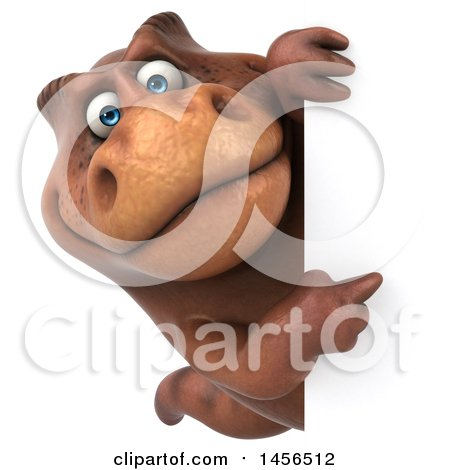Clipart Graphic of a 3d Brown Tommy Tyrannosaurus Rex Dinosaur Mascot Looking Around a Sign, on a White Background - Royalty Free Illustration by Julos