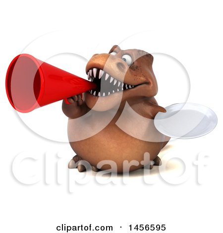 Clipart Graphic of a 3d Brown Tommy Tyrannosaurus Rex Dinosaur Mascot Holding a Plate, on a White Background - Royalty Free Illustration by Julos