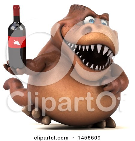 Clipart Graphic of a 3d Brown Tommy Tyrannosaurus Rex Dinosaur Mascot Holding a Wine Bottle, on a White Background - Royalty Free Illustration by Julos