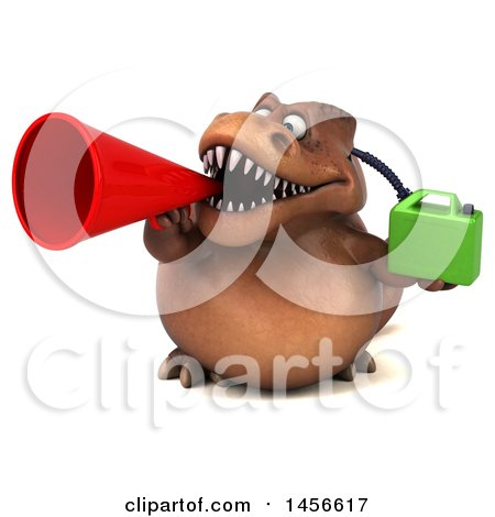 Clipart Graphic of a 3d Brown Tommy Tyrannosaurus Rex Dinosaur Mascot Holding a Gas Can, on a White Background - Royalty Free Illustration by Julos