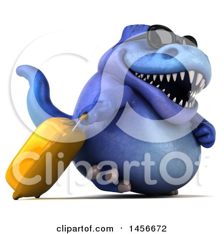 Clipart Graphic of a 3d Blue Tommy Tyrannosaurus Rex Dinosaur Mascot Traveler with Luggage, on a White Background - Royalty Free Illustration by Julos