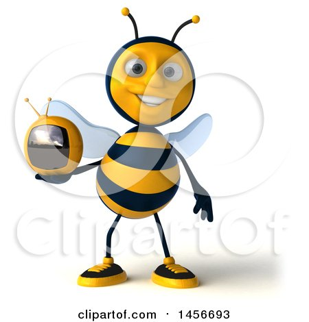 Clipart Graphic of a 3d Male Bee Holding a Tv, on a White Background - Royalty Free Illustration by Julos