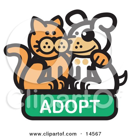 Orange Cat With His Arm Around A Cute White Dog On An Adopt Internet Web Icon  Posters, Art Prints