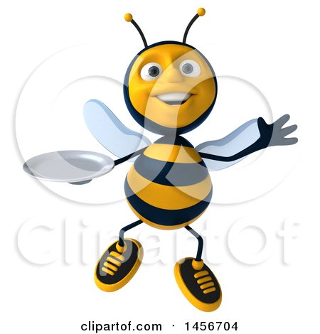 Clipart Graphic of a 3d Male Bee Holding a Plate, on a White Background - Royalty Free Illustration by Julos