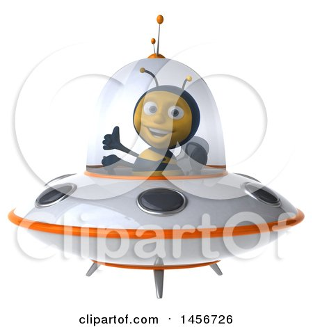 Clipart Graphic of a 3d Male Bee Flying a Ufo, on a White Background - Royalty Free Illustration by Julos