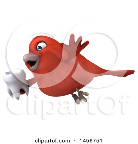 Clipart Graphic of a 3d Red Bird, on a White Background - Royalty Free Illustration by Julos