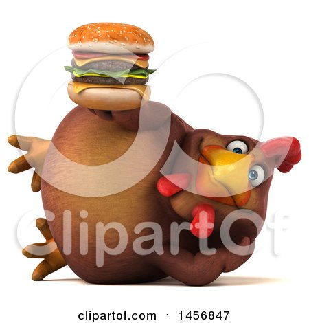 Clipart Graphic of a 3d Chubby Brown Chicken Holding a Burger, on a White Background - Royalty Free Illustration by Julos