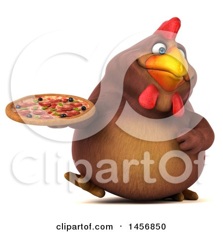 Clipart Graphic of a 3d Chubby Brown Chicken Holding a Pizza, on a White Background - Royalty Free Illustration by Julos