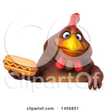 Clipart Graphic of a 3d Chubby Brown Chicken Holding a Hot Dog, on a White Background - Royalty Free Illustration by Julos