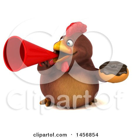 Clipart Graphic of a 3d Chubby Brown Chicken Holding a Donut, on a White Background - Royalty Free Illustration by Julos
