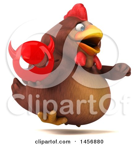 Clipart Graphic of a 3d Chubby Brown Chicken Holding a Devil Head, on a White Background - Royalty Free Illustration by Julos