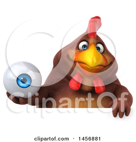 Clipart Graphic of a 3d Chubby Brown Chicken Holding an Eyeball, on a White Background - Royalty Free Illustration by Julos