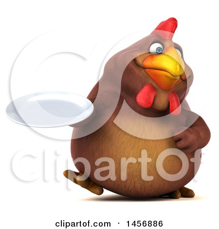 Clipart Graphic of a 3d Chubby Brown Chicken Holding a Plate, on a White Background - Royalty Free Illustration by Julos