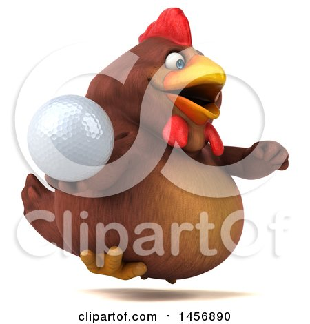 Clipart Graphic of a 3d Chubby Brown Chicken, on a White Background - Royalty Free Illustration by Julos