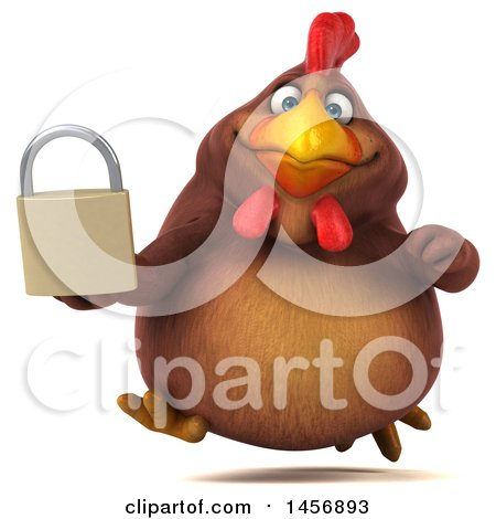 Clipart Graphic of a 3d Chubby Brown Chicken Holding a Padlock, on a White Background - Royalty Free Illustration by Julos