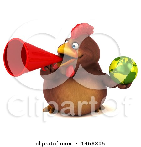 Clipart Graphic of a 3d Chubby Brown Chicken Holding a Globe, on a White Background - Royalty Free Illustration by Julos