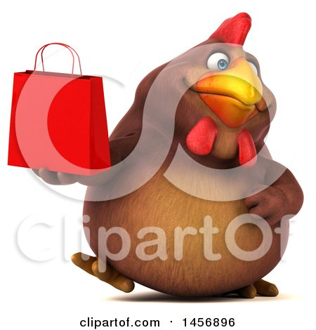 Clipart Graphic of a 3d Chubby Brown Chicken Holding a Shopping Bag, on a White Background - Royalty Free Illustration by Julos